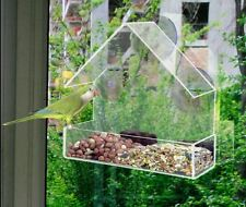 GLASS WINDOW BIRD FEEDER TABLE SEE THROUGH HANGING SUCTION PERSPEX CLEAR VIEWING