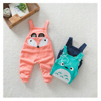 Baby Boy Girl Suspender Pants Trousers Bib Overalls Outfits Fox / Totoro 8-24M
