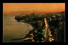 KALAKAUA AVENUE EVENING AERIAL VIEW IN WAIKIKI HAWAII US POSTCARD