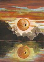 5x7 PRINT OF PAINTING RYTA LANDSCAPE CROW RAVEN HALLOWEEN FOLK ART GOTHIC MAGIC