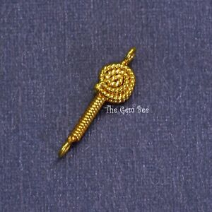 4.2mmx15mm 18k Solid Yellow Gold Handmade Coil Lollipop Connector Charm Finding