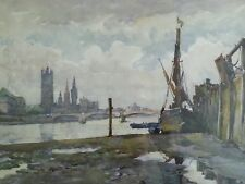 Vintage Thames River London lithograph by Marc circa 1940's