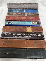 Nine Empty Straight Razor Boxs Vintage Used Barbershop Shaving