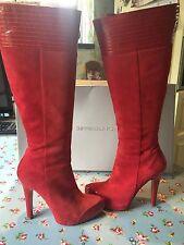 Impresionante patente de cuero gamuza roja y Gianmarco Lorenzi botas talla 39