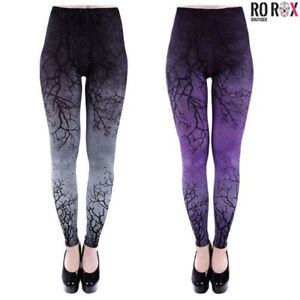 Restyle Branches Purple Grey Graphic Night Sky Punk Gothic Elasticated Leggings