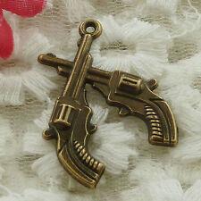 free ship 90 pieces bronze plated handgun charms 31x23mm #3215