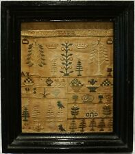 More details for very small early 19th century house & motifs sampler initialled a.i.l - c.1810
