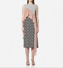 Diane Von Furstenberg Silk Printed Ruffle Sleeveless Maxi Dress Sz 2 New