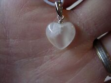 sterling silver moonstone heart pendant Js 56