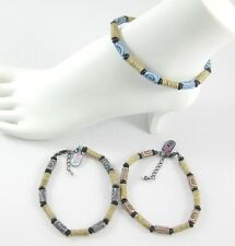"""Wrapped in Hemp Asstd Colors #A134 New 9"""" Anklet Featuring Fimo Beads &"""