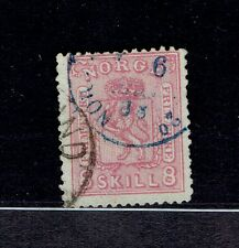 NORWAY 1867 #15a * Skilling Rose used w/ certificate Facit #15b