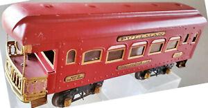 Ives 186 Observation Car  Standard Gauge Maroon Brass PlatesRestored 1926- 1930