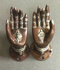 KRISHNA'S HANDS. HIGHLY DECORATIVE DOOR OR CABINET HANDLES, CAST IN BRONZE