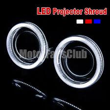 "Pair 2.5""/64MM LED Projector Chrome Shroud Cover Angel Eye HID Lens Halo 260Y CH"