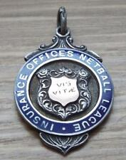 Insurance Offices Netball League - Vintage 1939 Sterling Silver & Gold Fob Medal