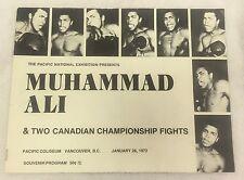 Muhammad Ali Vintage January 28th, 1972 Vancover British Columbia Fight Program