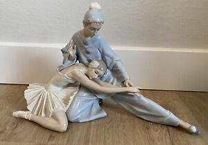 "Lladro #4935 ""Closing Scene"" Ballerina & Clown Dancers Porcelain Figurine"