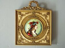 MINIATURE ART NOUVEAU ALPHONSE MUCHA STYLE ENAMEL PAINTING OF A BEAUTIFUL WOMAN