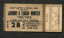 1976 Johnny Winter & Edgar Concert Ticket Stub Lakeland Fl Mean Town Blues