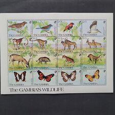Gambia 1991 /African Wlid Fauna - Birds, Monkeys Mammals / minisheet Mnh