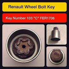 ORIGINAL RENAULT écrou verrouillage ROUE / Master Clé Code 103 LETTRE C