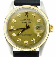 Rolex Datejust Mens 2Tone 18K Gold Stainless Steel Black Champagne Diamond Dial