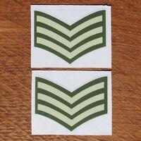Two British Army Soldier Rank Sergeant Sgt Vinyl Sticker Stripes Decal 5cm