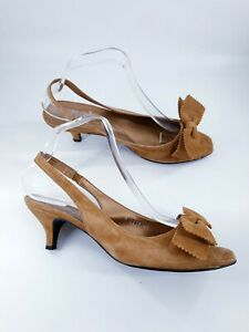 Gadea size 8 (41) tan brown suede peeptoe slingback bow slim heel court shoes