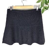 Theory Mini Skirt Womens Size Medium Navy Blue Gray Striped Wool Blend