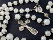 ANTIQUE FRENCH TINY STERLING SILVER & OPALIN BEADS ROSARY 1800's