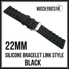 * Estilo de enlace 22mm Negro Pulsera Silicona Goma Reloj Correa De Alta Calidad 22mm *