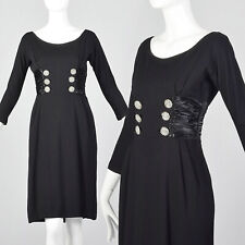 XS 1950s Wool Knit Dress Bracelet Sleeves Satin Cummerbund Waist Vintage 50s