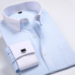 New Mens Dress Shirts French Cuff Formal Business Long Sleeve Button Down Shirts