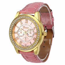 Ladies Fashion Geneva Quartz Gold and Crystal Pink Face & Band Wrist Watch.