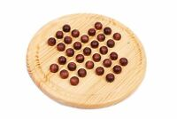 Wooden Solitaire Game Set Marbles Toy Kids Educational Travel Board Gift