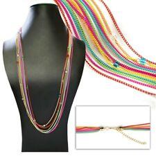 Statement Multicolor Halskette im Hippie Look Gliederkette Glasperlen mehrfarbig
