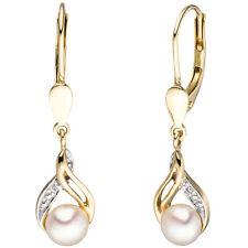 Boutons 585 Gold Gelbgold 2 Süßwasser Perlen diamanten Ohrringe Ohrhänger A36441