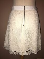 Ann Taylor Loft Ivory Crochet Cotton Lined Zippered Mini Skirt Sz.4,s