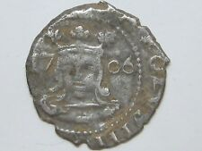 1706 CHARLES III 1 REAL VALENCIA SPAIN SPANISH GENUINE OLD SILVER COIN