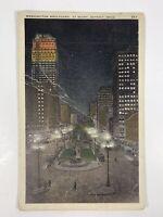 Vintage Postcard Washington Boulevard At Night Detroit Michigan Postmarked 1930