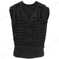 Laser Cut Tactical Vest - Black - MOLLE Webbing Rig Combat Airsoft Army Mens New