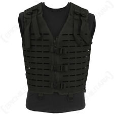 Laser Cut Tactical Vest - Black - MOLLE Webbing Rig Combat Airsoft Army Mens New