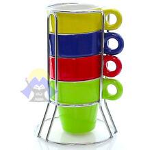 SET di 4 TAZZE Caffe' TAZZINE in CERAMICA Reagalo BAR Espresso COLAZIONE da CASA