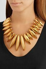 OSCAR DE LA RENTA Designer Gold-toned Metal Ridged Disc Statement Necklace