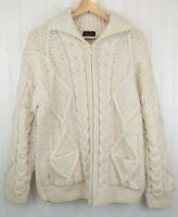 VTG Hand Knit Wool Chunky Cable Knit Sweater Ecuador Full Zip Cream Fisherman