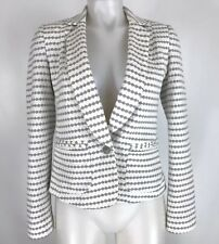 Cartonnier Anthropologie Structured Knit Blazer Jacket Geometric White Gray Sz 4