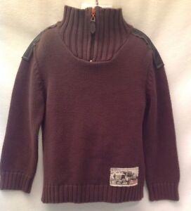 MINIMAN NWOT Euro Brown Cotton Sweater Sz 6 Ans Antique Car Zip Neck Leatherette
