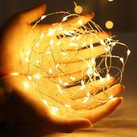 LED Lichterkette Batterie 10/20/50/100 Micro Draht Außen Innen Kaltes warmweiß ♋