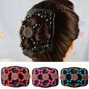 Women Hair Accs. Magic Hair Comb Hair Clip Double Slide Wood Beads Retro