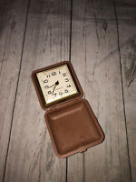 Vintage Westclox Travel Alarm Clock Wind-up Suitcase Brown Case Analog